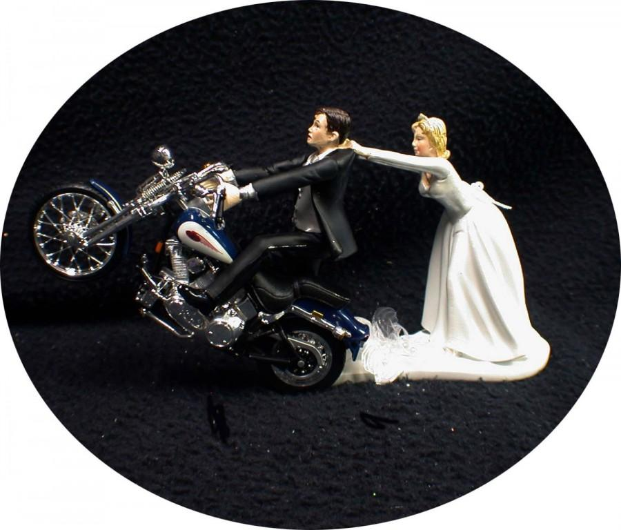 Motorcycle Wedding Cake Topper W Sexy Blue Harley Davidson Funny Groom Top