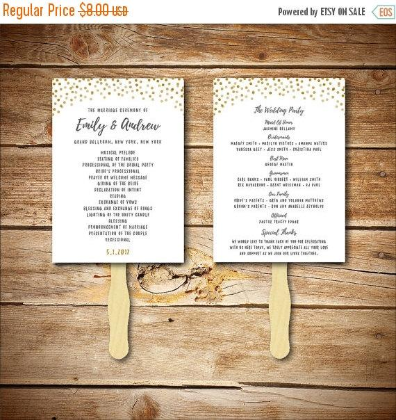 زفاف - Wedding Program Template - Printable Wedding Program - DIY Wedding Fan Template  - Instant Download - Confetti Collection