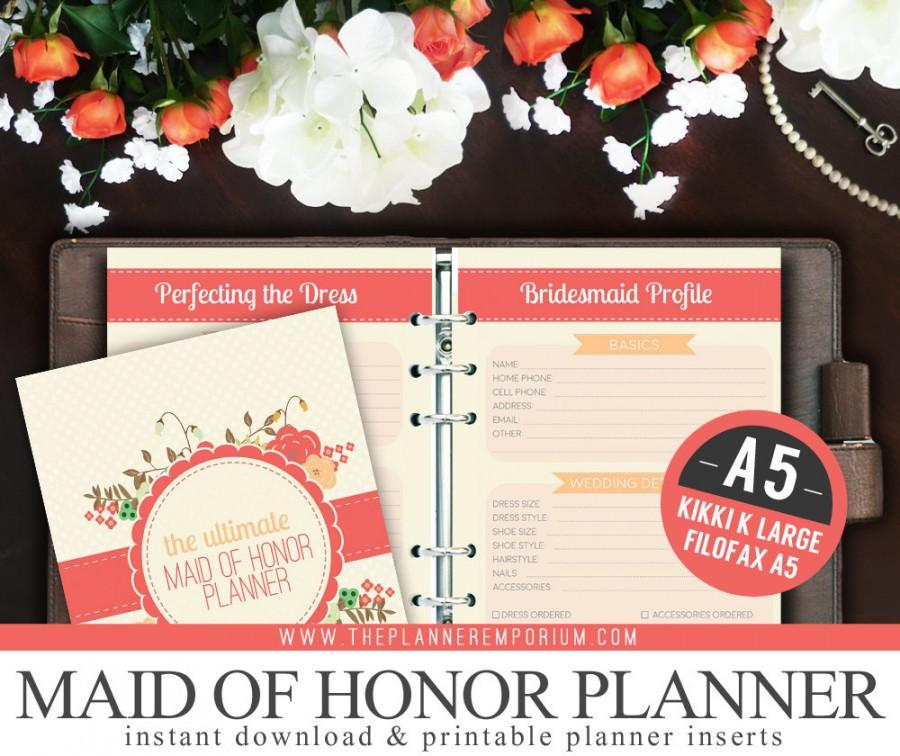 a5 ultimate maid of honor wedding planner organizer kit instant