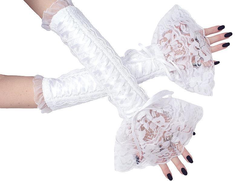 Bridal White Lace Fingerless Gloves Bridesmaid Wedding Or Shabby Chic Style Women S 0410