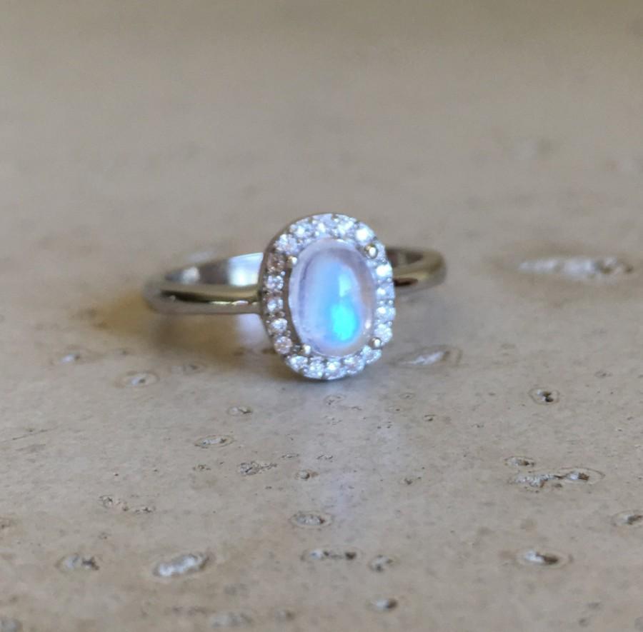 زفاف - Moonstone Promise Ring- Oval Ring- Bridal Ring- Wedding Ring- Engagement Ring- Rainbow Moonstone Ring- Sterling Silver Ring- June Ring