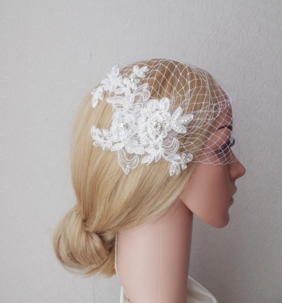Mariage - Ivory Birdcage Veil and Lace Bridal Fascinator Vintage Style Bandeau Birdcage Wedding Veil  Pearls Veil Vintage Style Wedding Veil Blusher