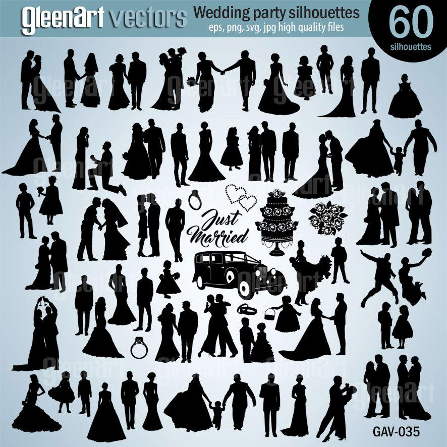 Wedding - 50% Off Sale - 60 PREMIUM Wedding silhouette/Wedding party clipart/Bride/vector/eps/png/svg/jpg/Personal&Commercial Use/INSTANT DOWNLOAD