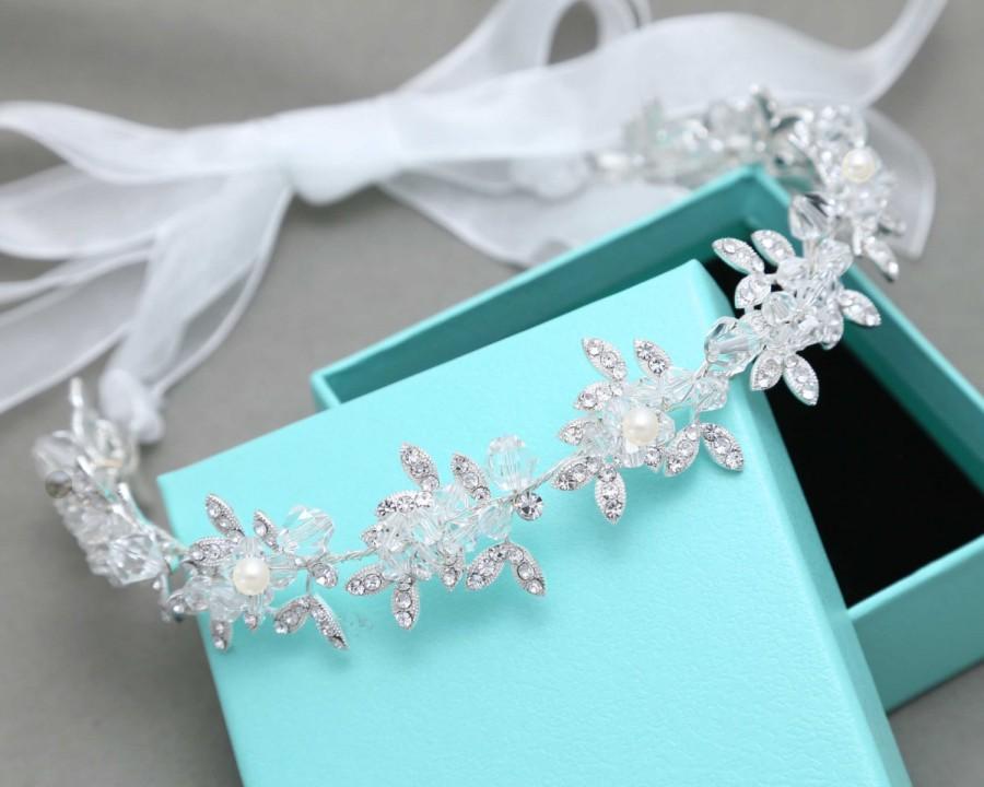 Wedding - Wedding Pearl Headband, Forehead Tiara, Bridal Crystal Head Piece, Hand Wired Wedding Pearl Tiara, Pearl Crystal Bridal Tiara