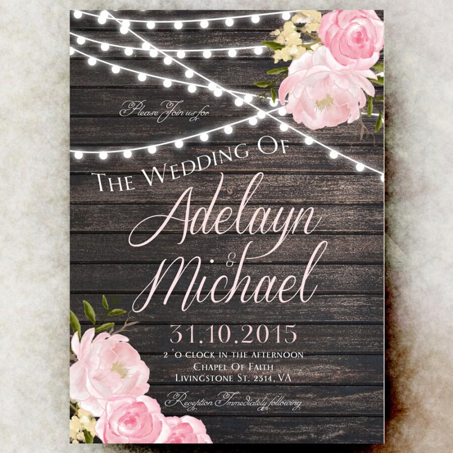 1e6539c0aaa53 Rustic Wedding Invitation Printable - String Lights Barn Wedding ...