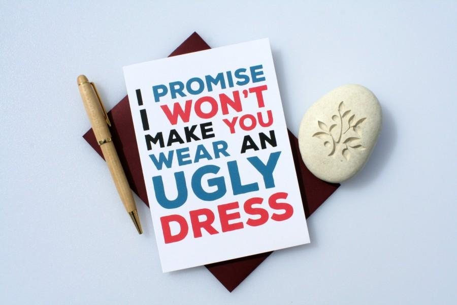 Be My Bridesmaid Maid Of Honor Funny Card Will You Ugly