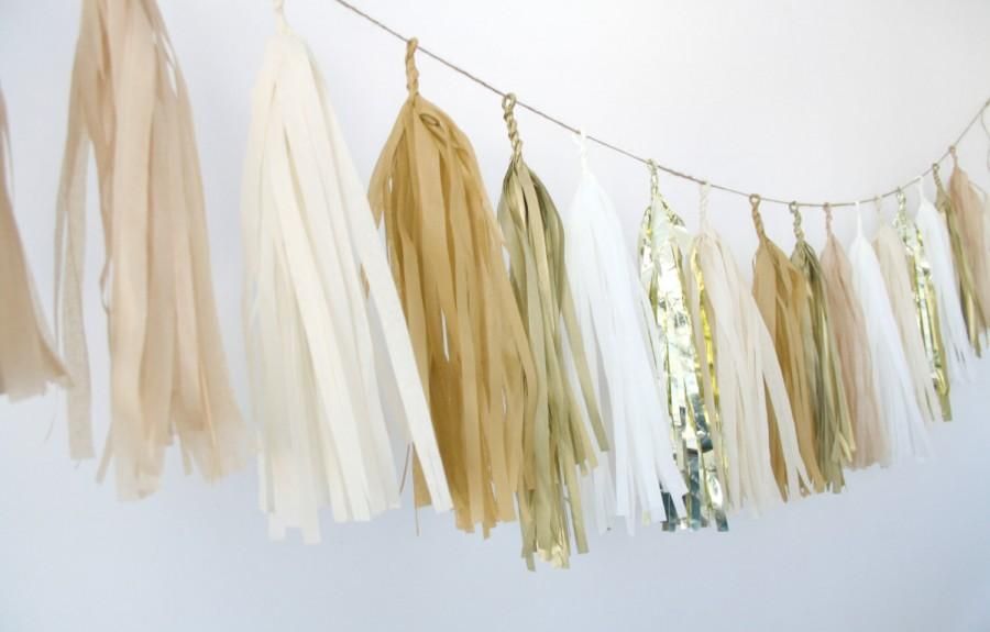Gold Champagne Tassel Garland Metallic Neutrals Wedding Decor Birthday Party Decorations Rustic Shabby Chic Barn