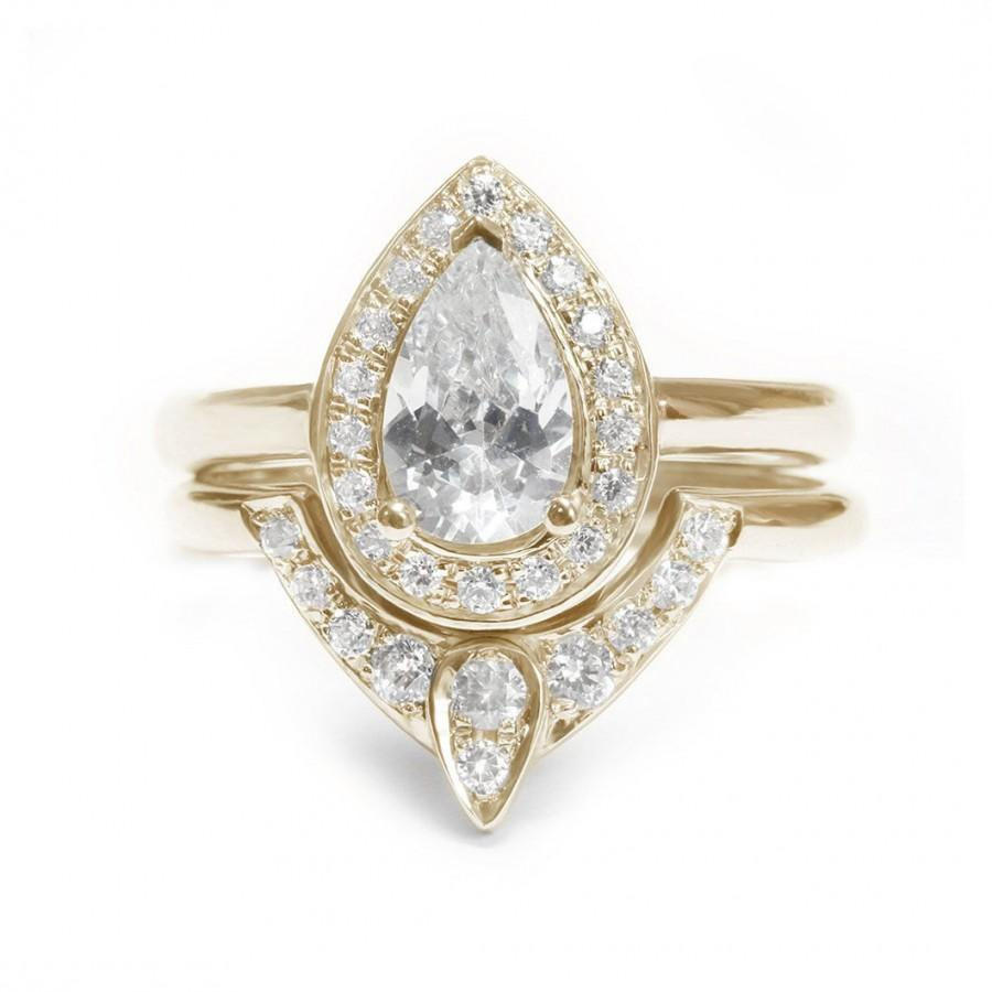 Wedding - Pear Shaped Moissanite Engagement Ring with Matching Side Diamond Band