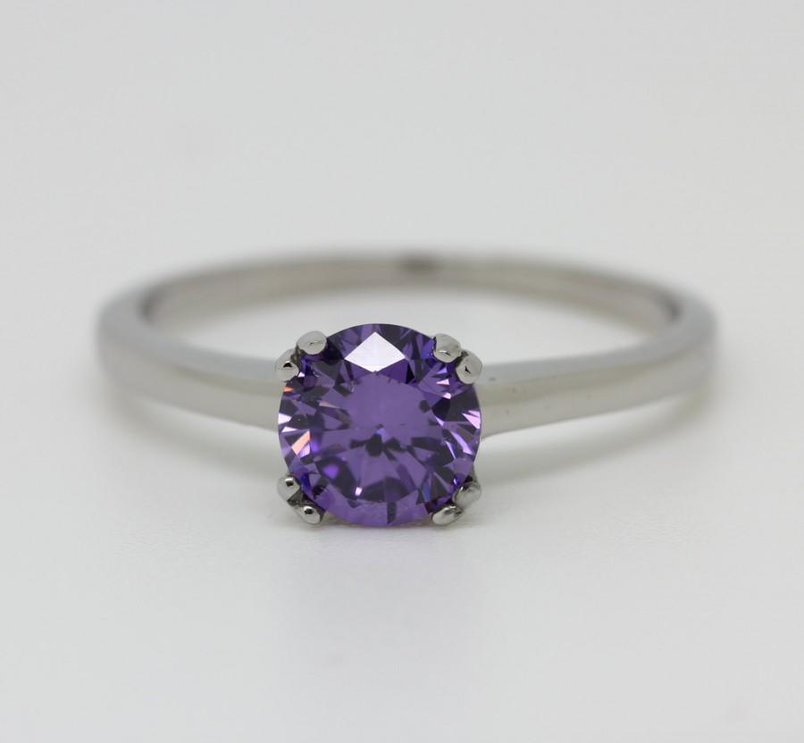 زفاف - Genuine 1ct Amethyst solitaire ring in Titanium or White Gold - engagement ring - wedding ring - handmade ring