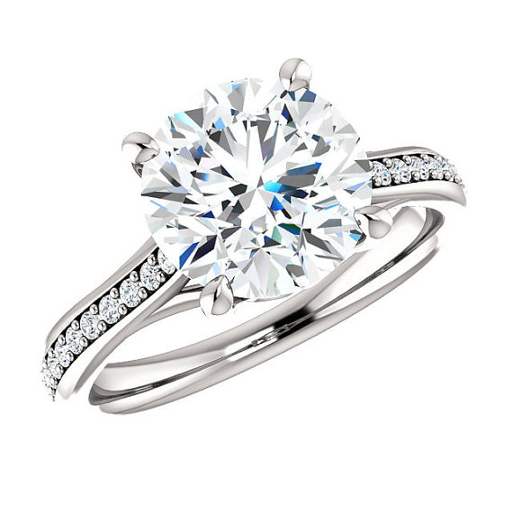 3 Carat Forever e Moissanite 9mm & Diamond Solitaire Engagement Ring