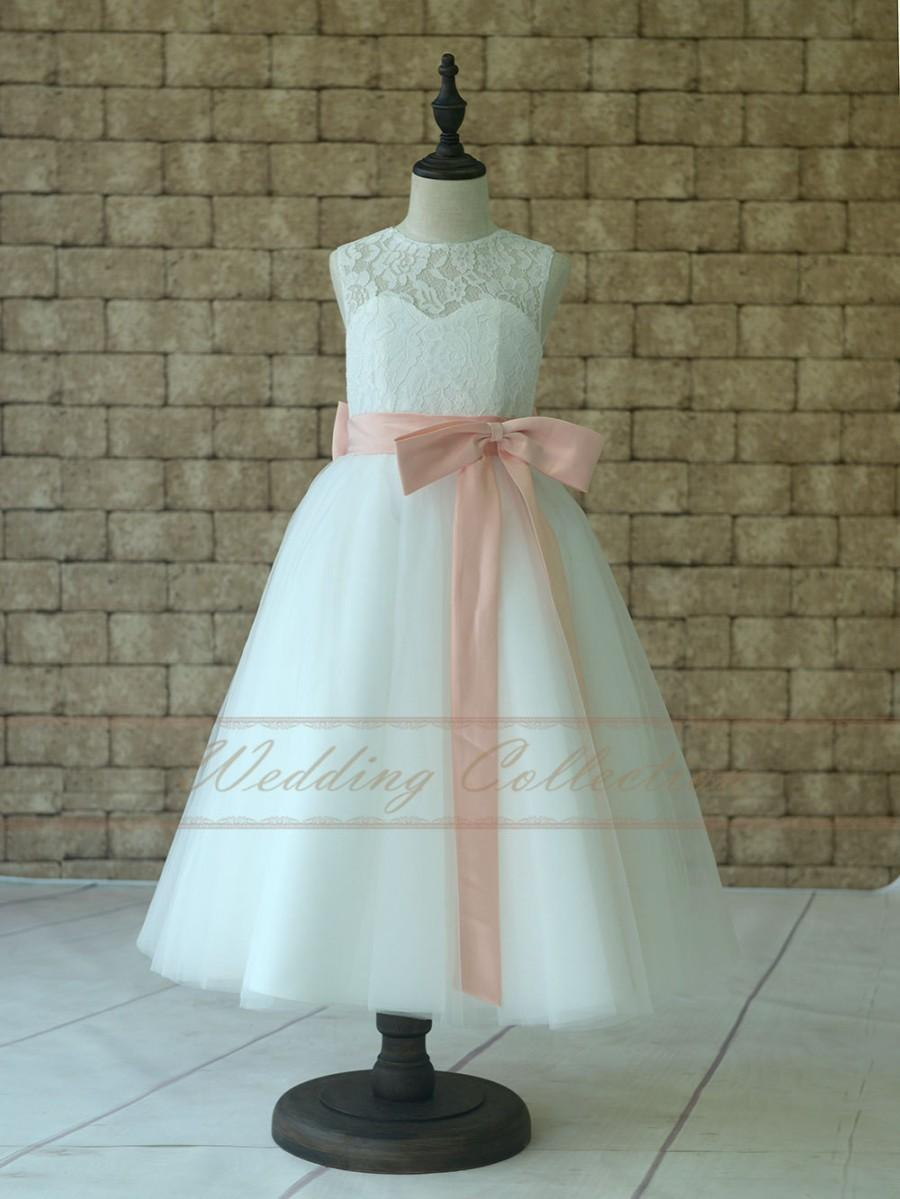 Lace Tulle Flower Girl Dress With Blush Pink Sash And Bow 2582620