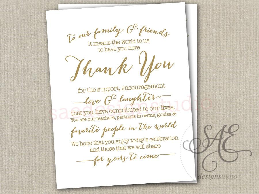 Wedding Day Reception Thank You Menu Size Table Cards DIY Instant ...