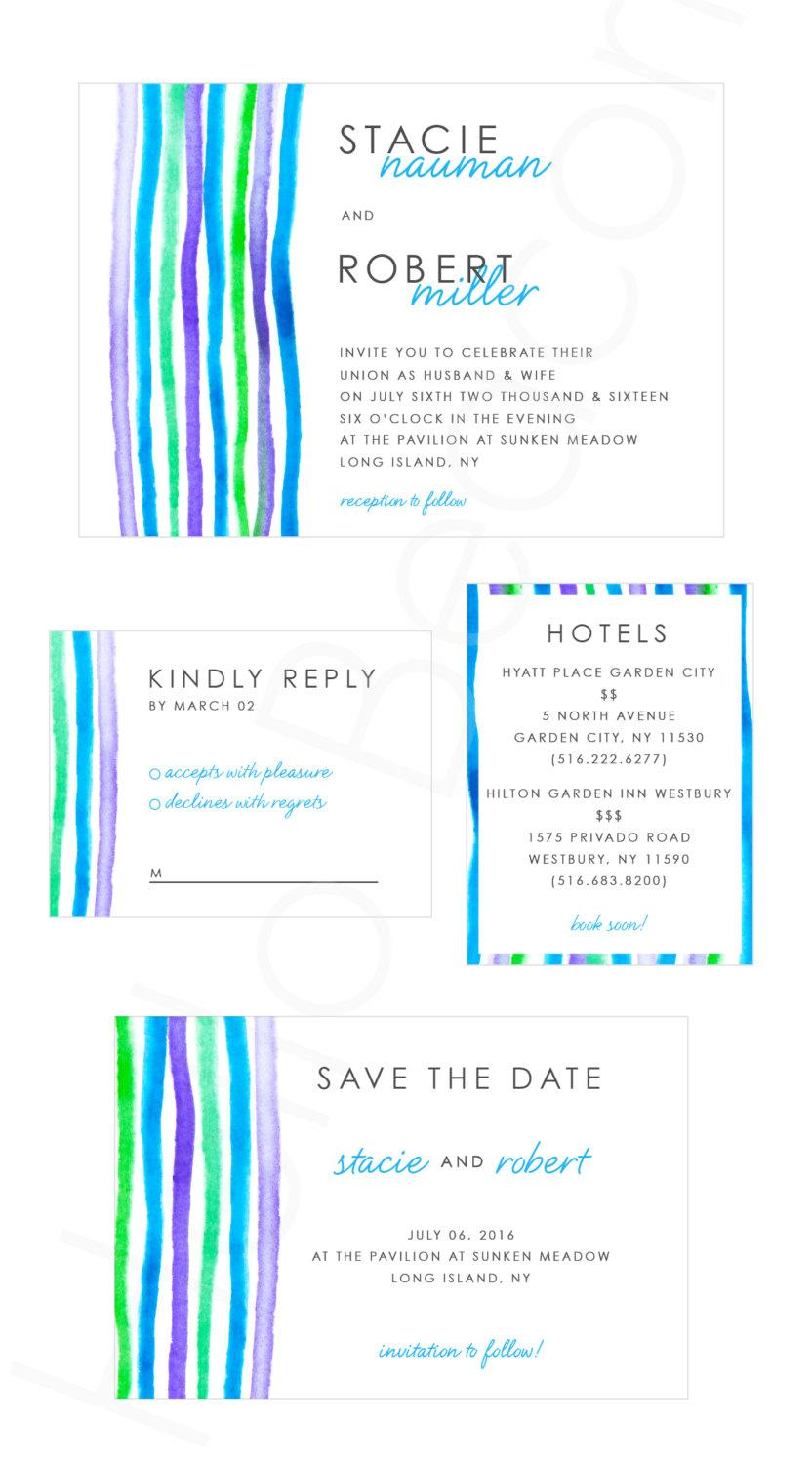 Water Color Wedding Invitation Set (Save The Date, Invite, Rsvp Card ...