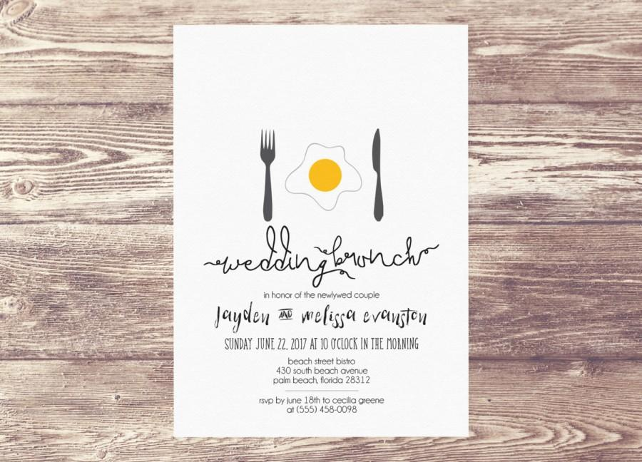 Printed Wedding Brunch Invitation Newlywed Invite Bridal Shower Baby Champagne