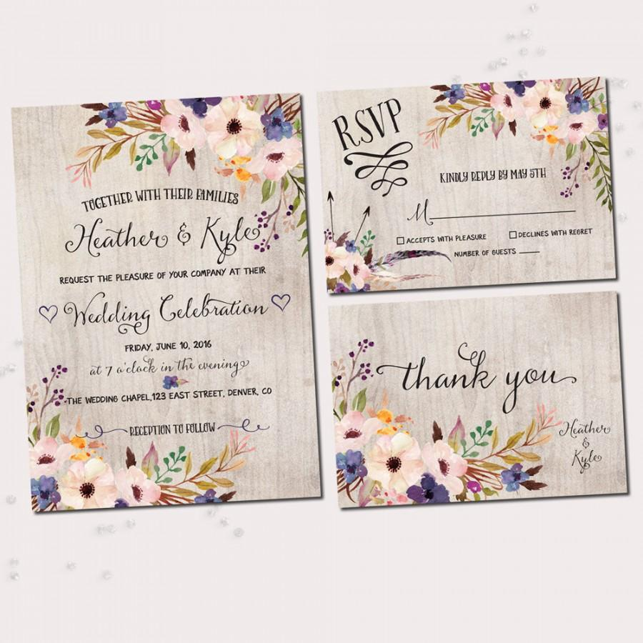 Floral wedding invitations watercolor floral printable wedding floral wedding invitations watercolor floral printable wedding invitation set junglespirit Gallery