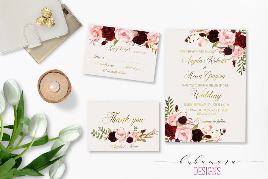 Marsala Wedding Invitation Suite Burgundy Pink Digital ...