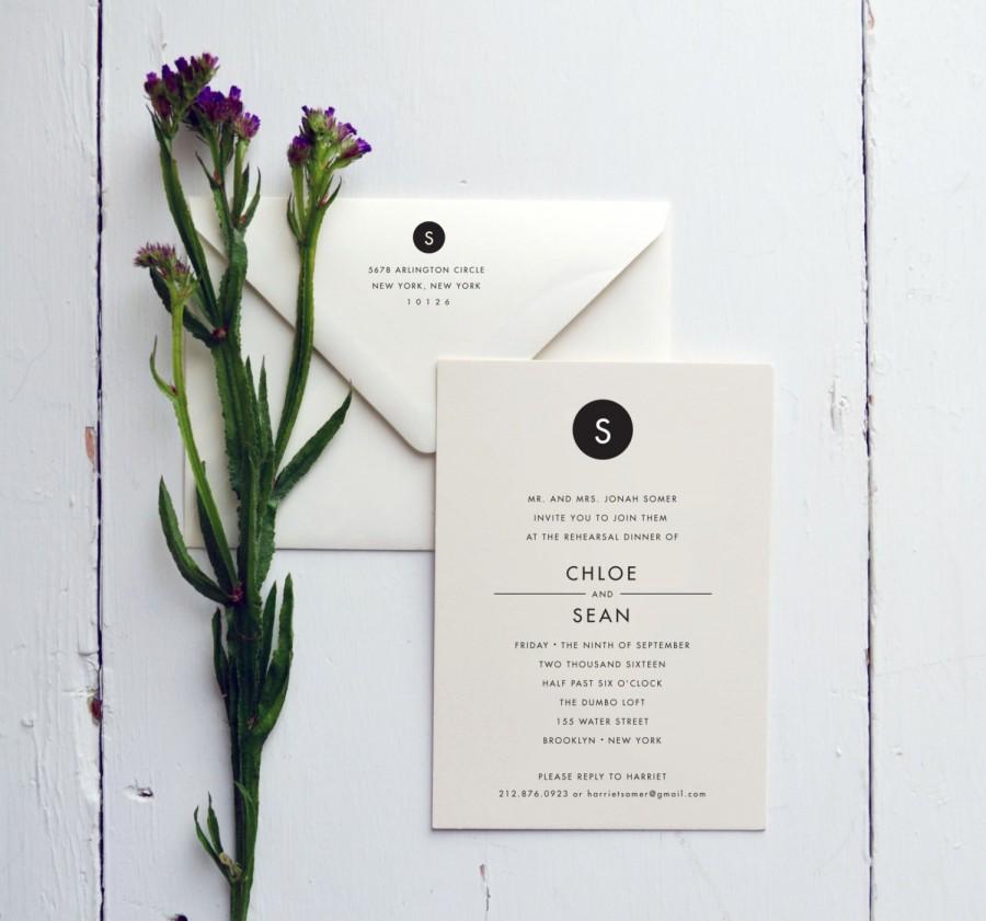 Hochzeit - Rehearsal Dinner Invitation - Modern Monogram - JPress Designs - wedding, modern, classic, simple, elegant, letterpress, monogram, clean