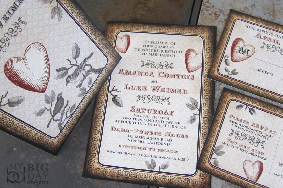 Mariage - Vintage Love Birds Wedding Invitation Set / Branches / Birds