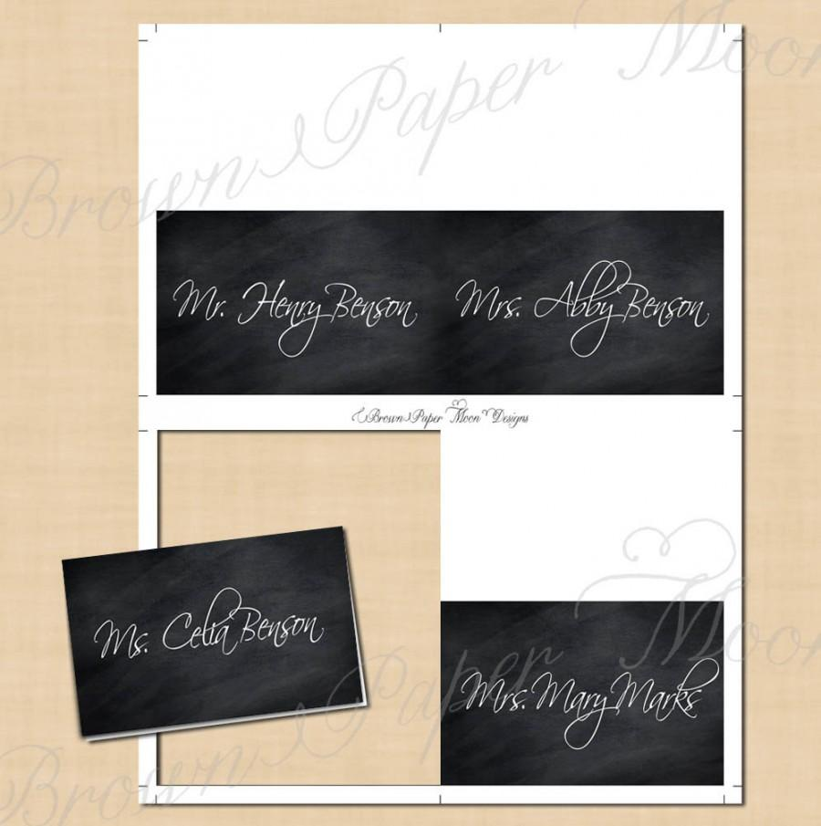 Mariage - Chalkboard Place Card Tent: Text-Editable, Printable on Avery 5302, 5820 or 8820, Instant Download