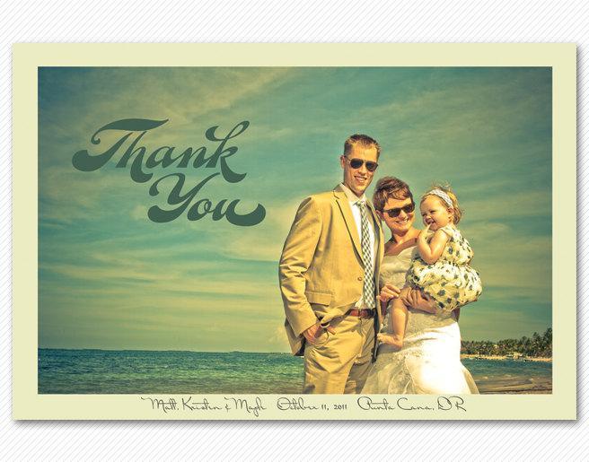 Mariage - Wedding Thank You Card or Magnet - Modern Script