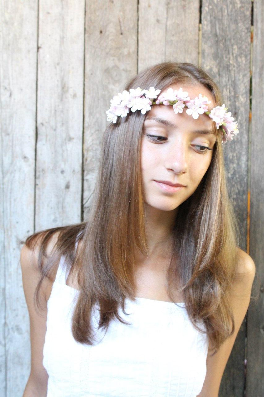 Свадьба - Sakura flowers crown. Gentle hair piece for the bride. Cherry blossoms. Bridal crown. flowers headband. Hair wreath. Wedding headband.