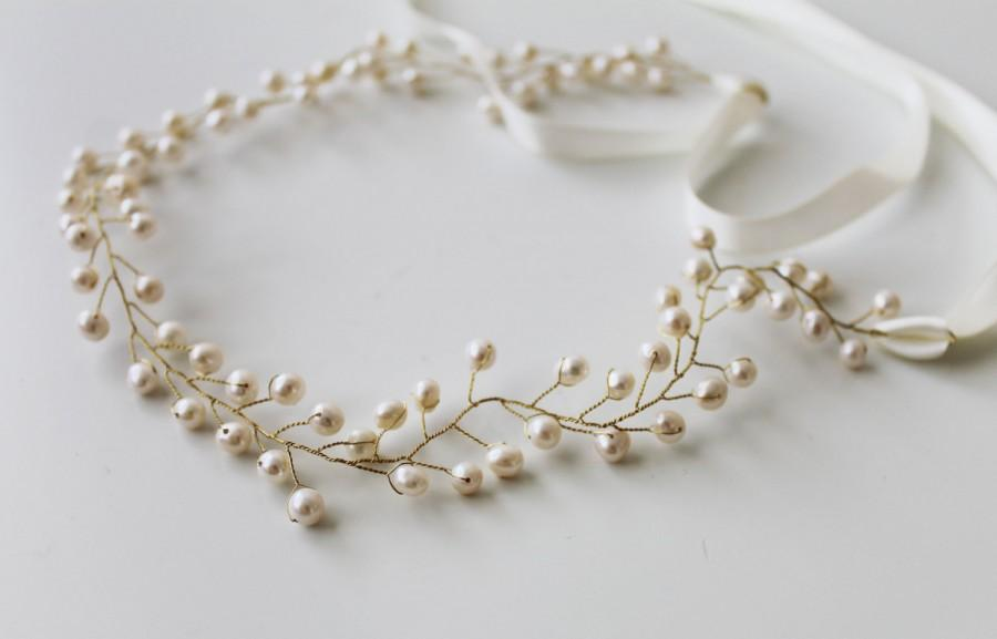 Mariage - SALE -Bohemian Bridal Freshwater Pearl Hair Vine,  Headband Crown ,Halo Headpiece, Crown Bridal Hair Accessories