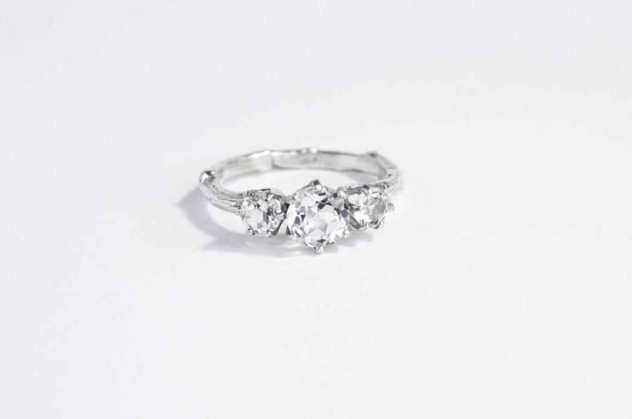 Hochzeit - White topaz twig engagement ring, white topaz sterling silver ring, twig engagement promise ring