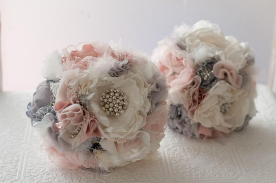 Свадьба - Fabric Brooch Bouquet, Fabric Flower Wedding Bouquet, bridal flower rhinestone and pearl brooches, silk flowers, silver gray grey broaches