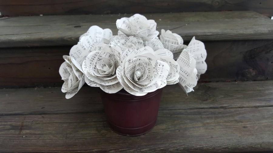 12 Paper Flowers Wedding Flowers Vintage Hymnal Storybook Wedding