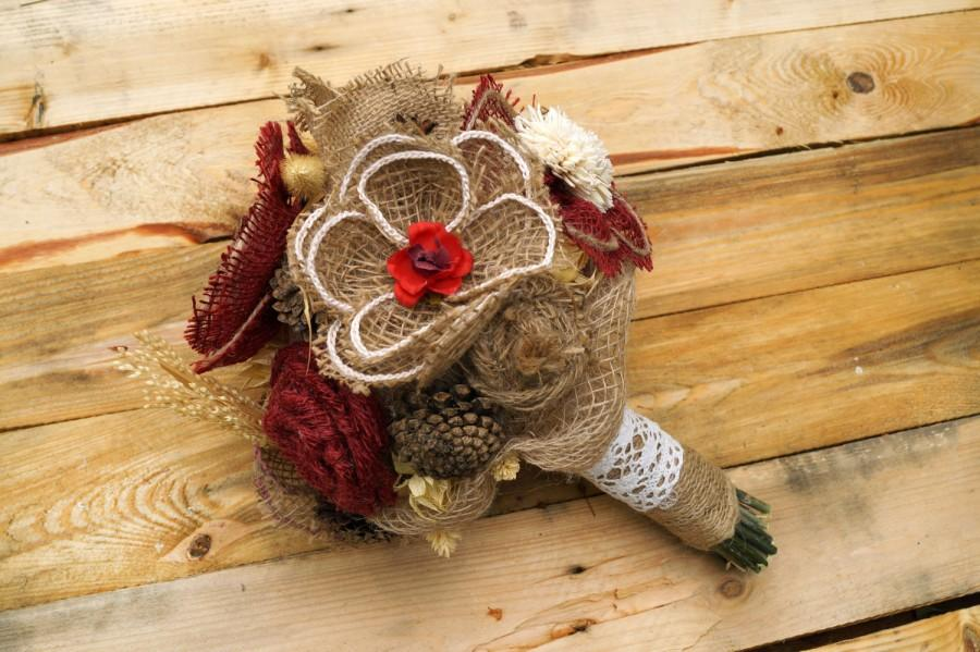 Свадьба - Rustic fall wedding bouquet maroon bouquet natural bouquet vintage wedding  garden wedding  handmade flower rustic bridesmaid's bouquet