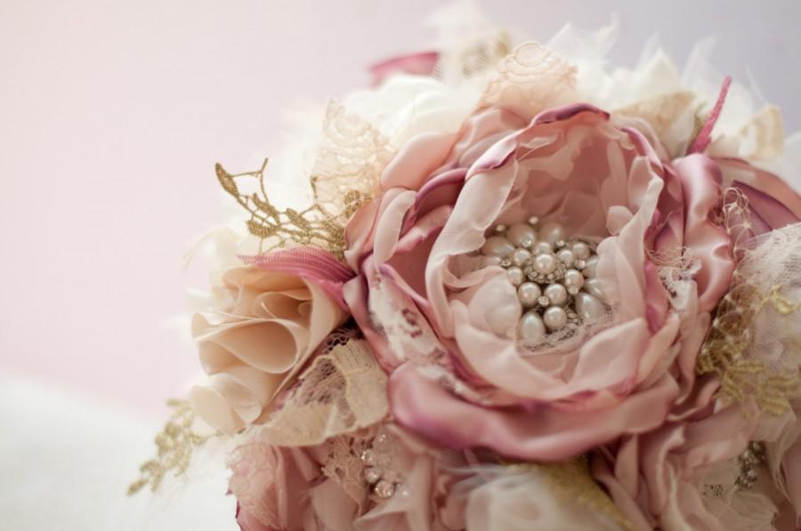 Свадьба - Brooch Bouquet, Fabric Wedding Bouquet, bridal flower rhinestone pearl brooches, fake flowers blush, wine, gold, champagne broach