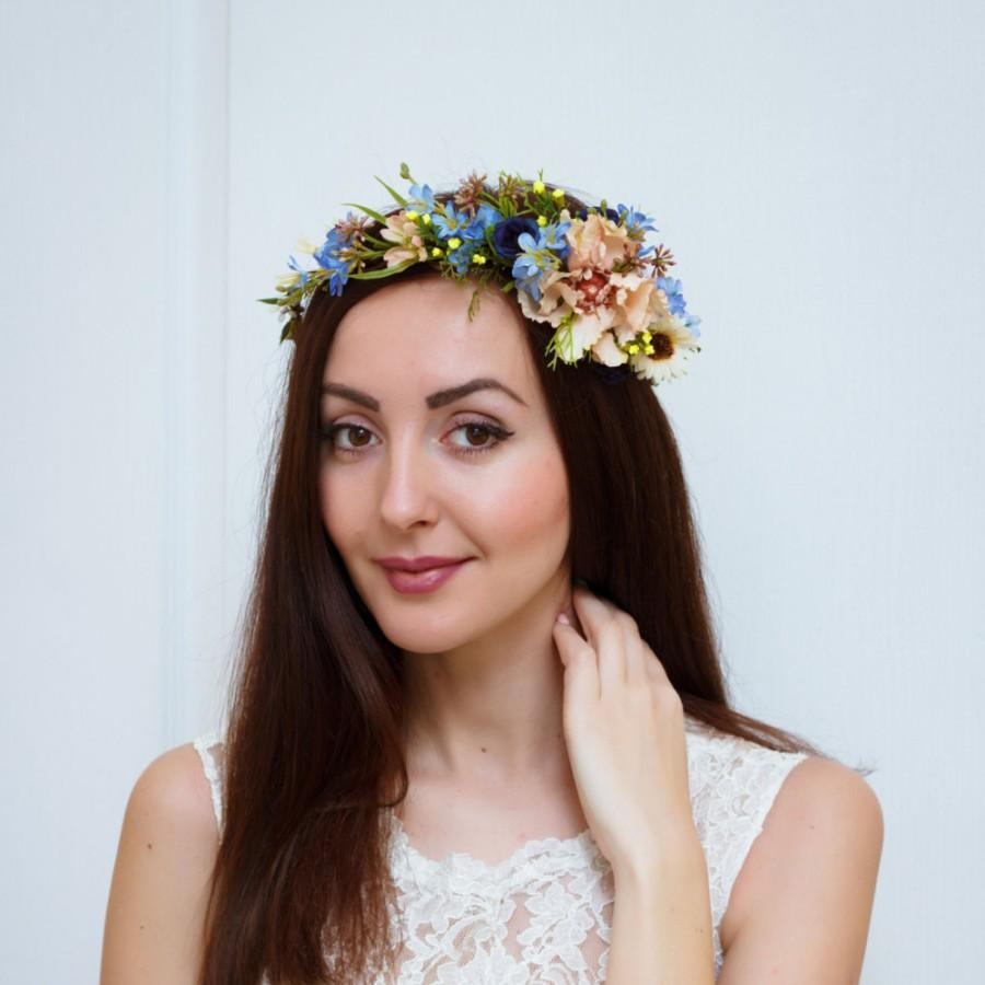 Flower Crown Bridal Floral Crown Flower Headband Flower Hair Wreath