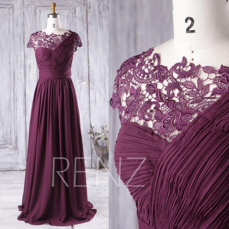 2016 Plum Bridesmaid Dress Long One Shoulder Chiffon Wedding Dress Asymmetric Lace Neck Prom