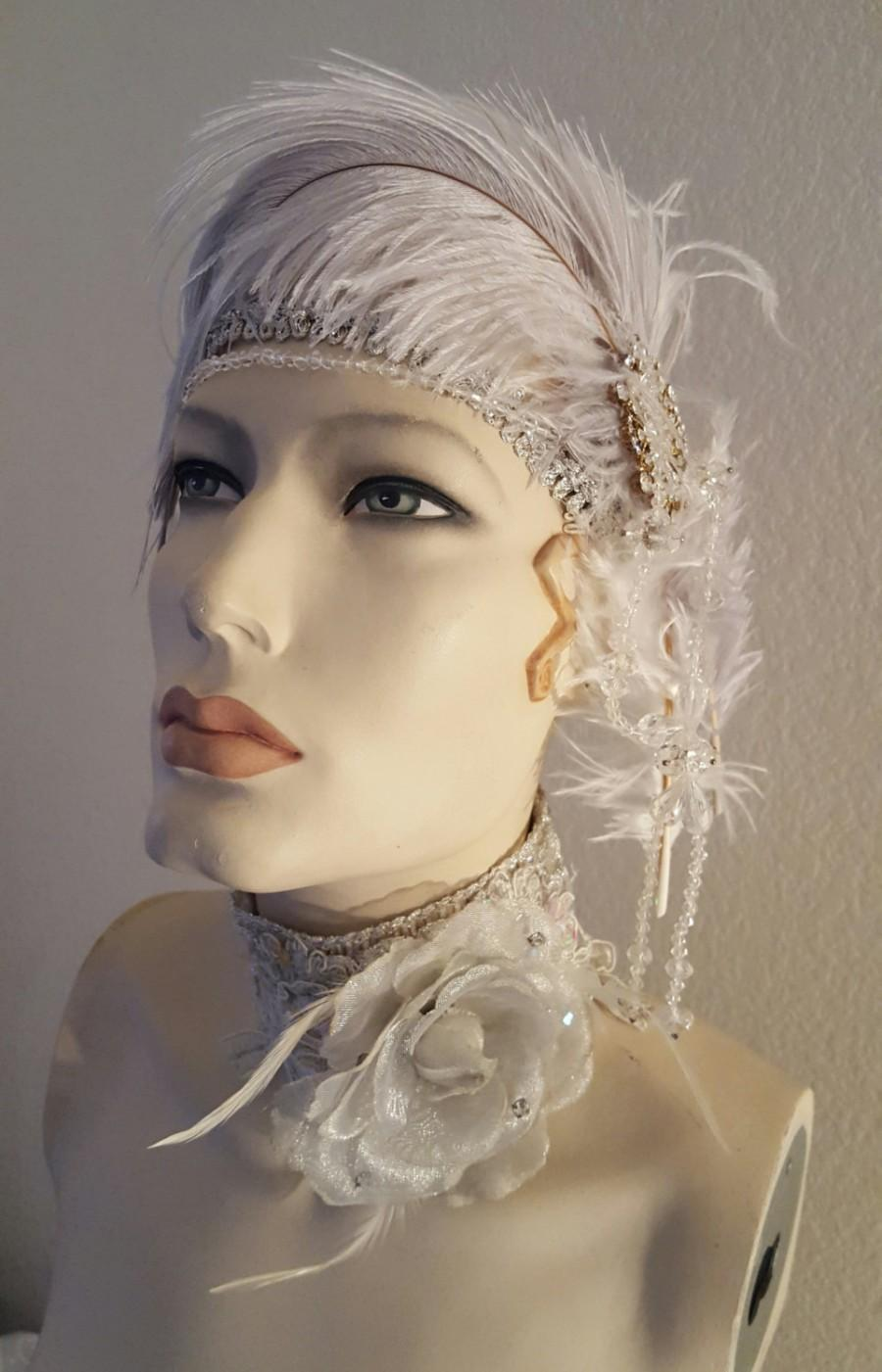 Mariage - Plume Goddess 2pc Flapper Gatsby White Silver Gray Sequin Lace Crystal Bridal Headband Headpiece & Choker Necklace Set Wedding Party Costume
