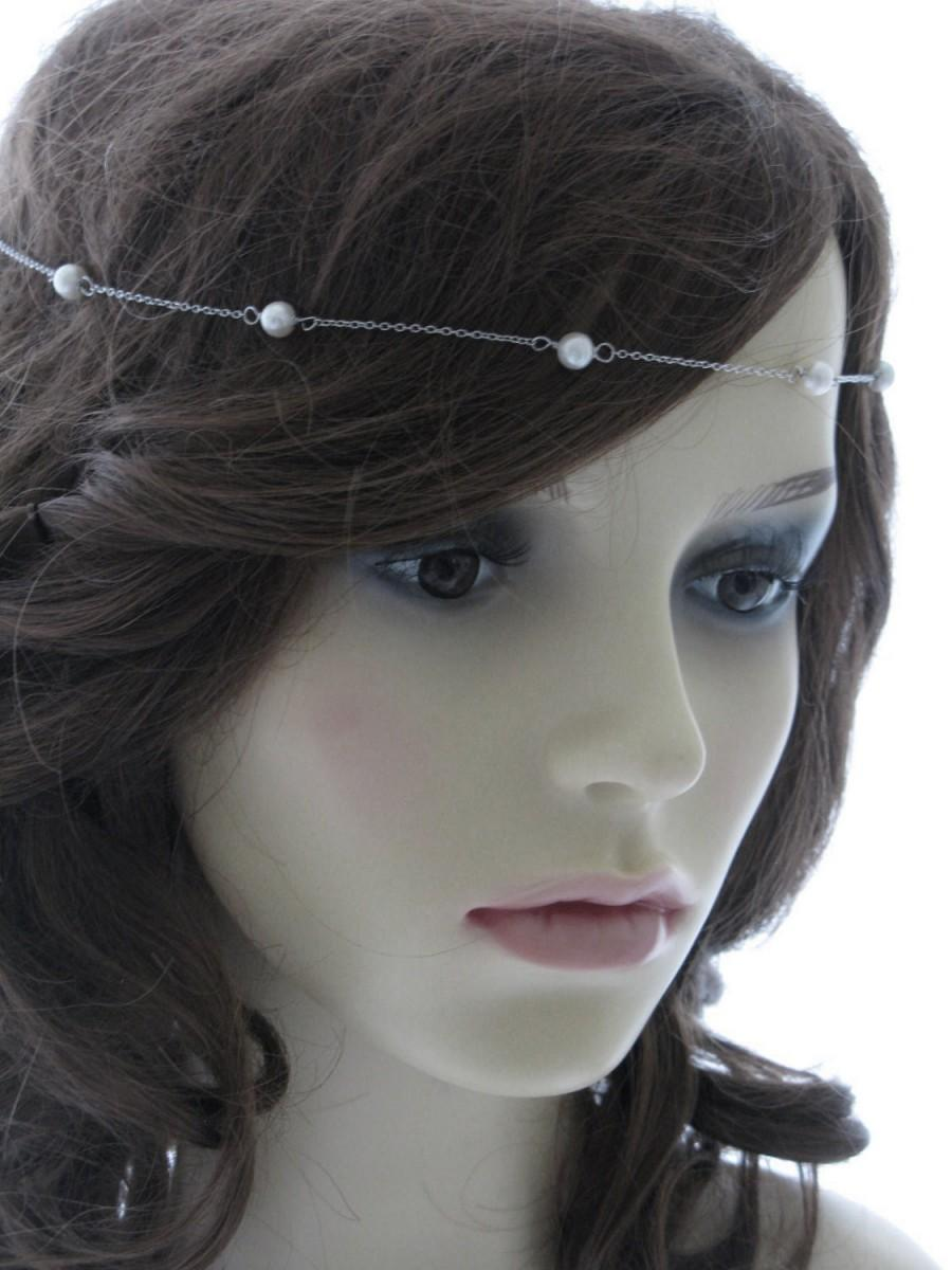 Свадьба - Sterling silver and cultured pearl headband or brow band - Tincup