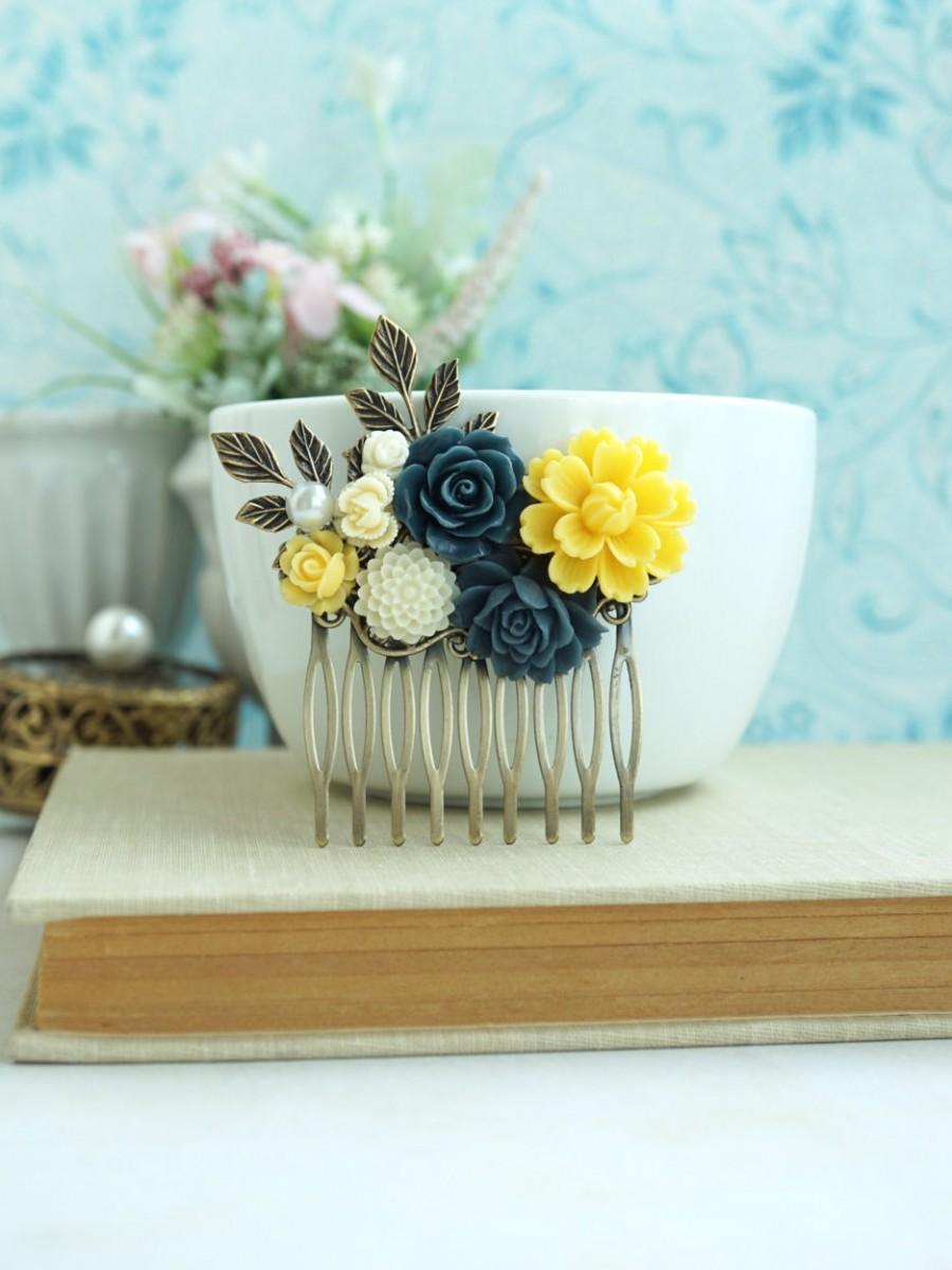 Wedding - Yellow Navy Blue Comb, Yellow Wedding Comb, Blue Ivory Flower, Yellow Ivory, Blue, Brass Leaves Hair Comb, Rustic Bridesmaids Gift, Summer