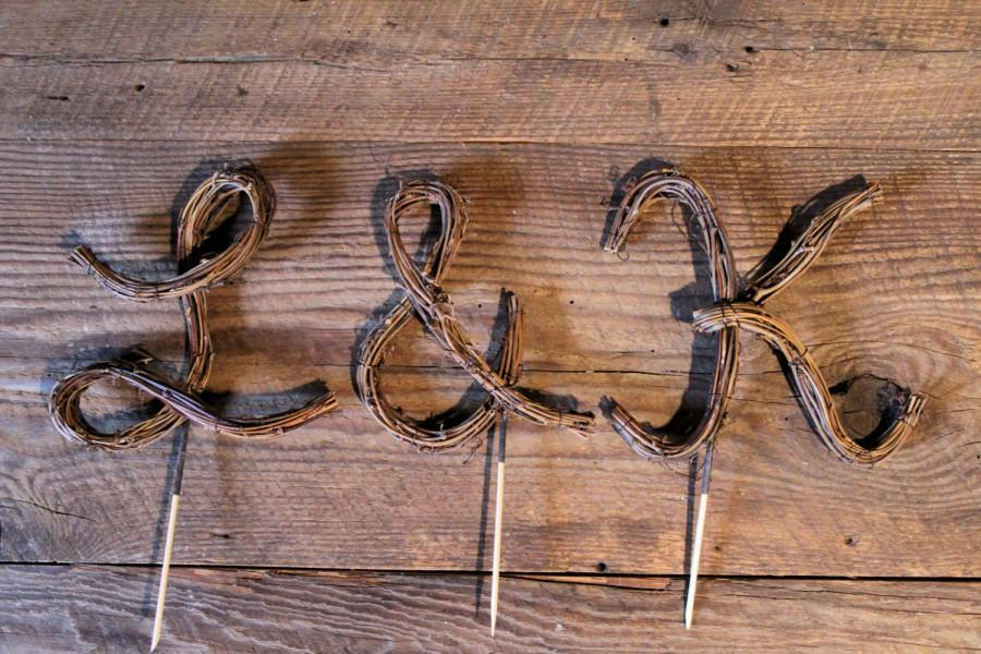 Wedding - Wedding Cake Topper - Script - Personalized Initials - Rustic Grapevine - Featured on Norcal Wedding