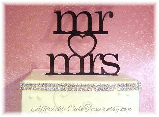 Свадьба - Wedding Cake Topper - Mr and Mrs - Mr and Mr - Mrs and Mrs - Heart Cake Topper - Custom Cake Topper Bride and Groom