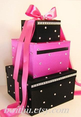 Свадьба - Wedding Card Box Black and Hot pink Gift Card Box Money Box  Holder--Customize in your color/made to order