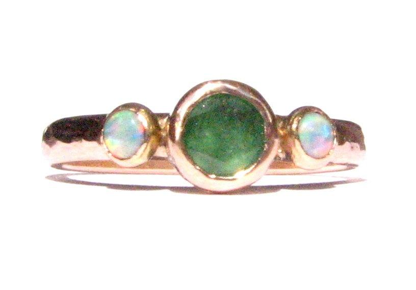 Mariage - Natural Emerald & Opals Ring -Solid 14k Rose Gold Ring- Emerald Engagement Ring -Opal Gold Ring -Stackable Ring -Romantic- Wedding Ring.