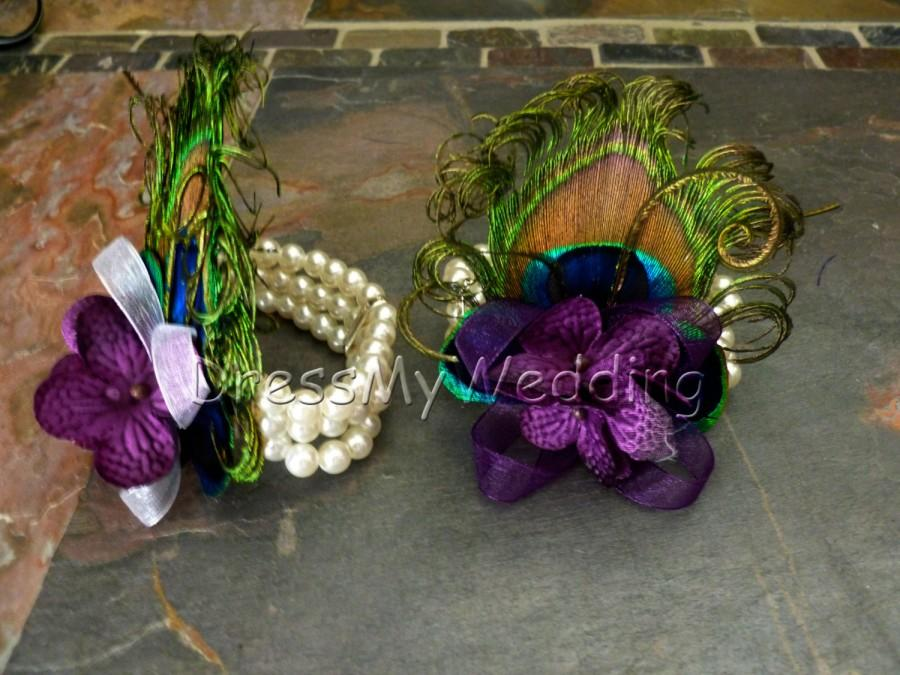 Свадьба - Peacock pearl wrist corsage, plum purple wrist corsage, eggplant purple hydrangea pearl corsage