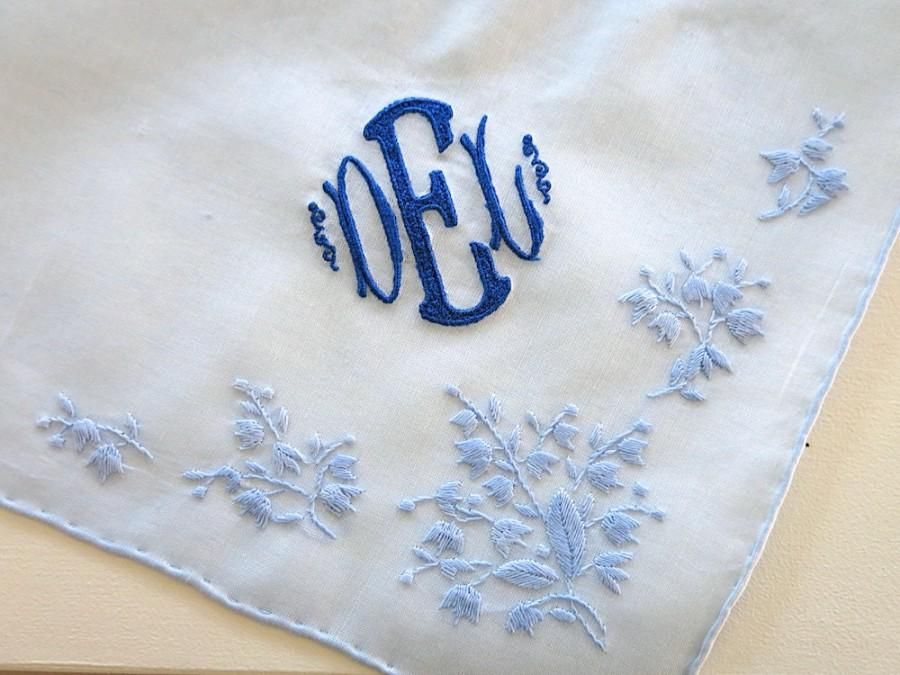 Mariage - Blue Cotton Handkerchief with 3 Initial Monogram & Date