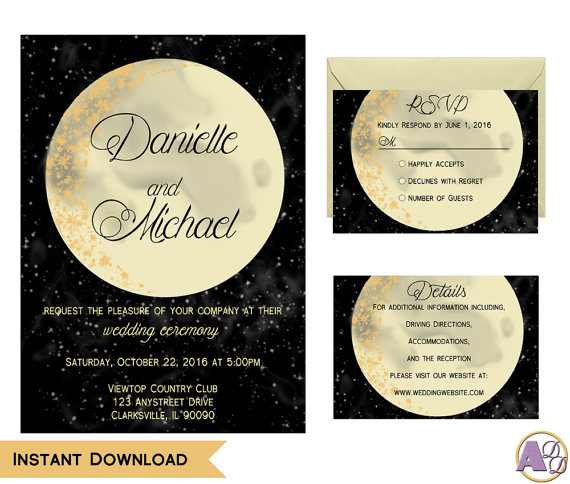 Wedding - Printable Moon and Back Wedding Invitation Suite - Moon and Stars Wedding - Edit & Print using Adobe Reader