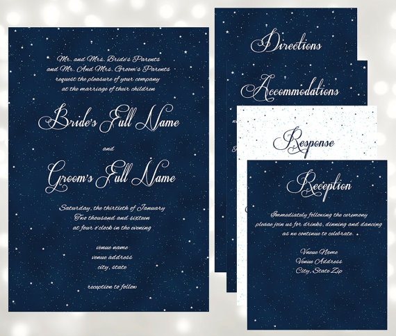 Starry Night Under The Stars Pocket Fold Wedding Invitations