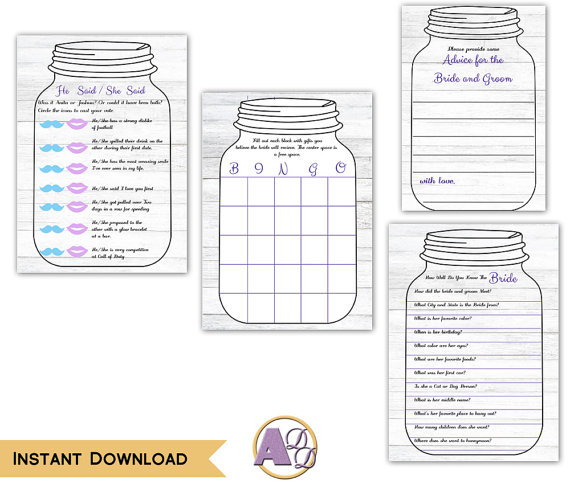 printable rustic mason jar with hydrangea flowers bridal shower games print edit at home