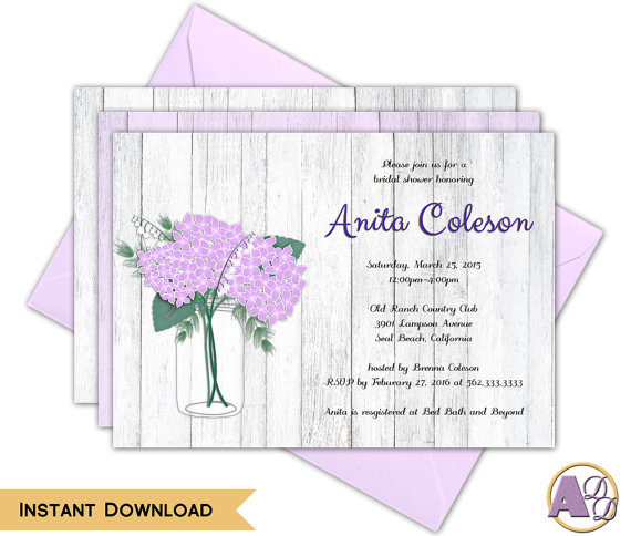 printable rustic masion jar with hydrangea flowers bridal shower invitation print and edit at home using adobe reader