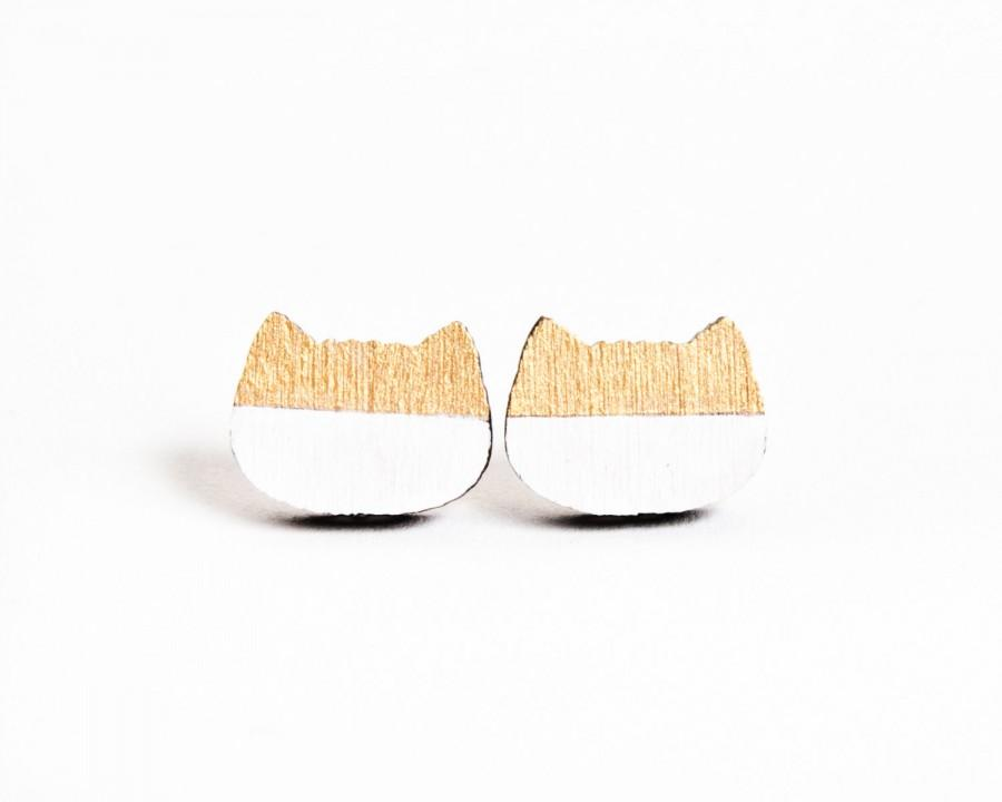 Gold Studs Earring Cat Tiny Stud Lover Earrings Gifts For Her