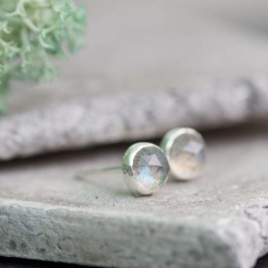 Wedding - Minimalistic stud earrings with faceted labradorite, sterling silver
