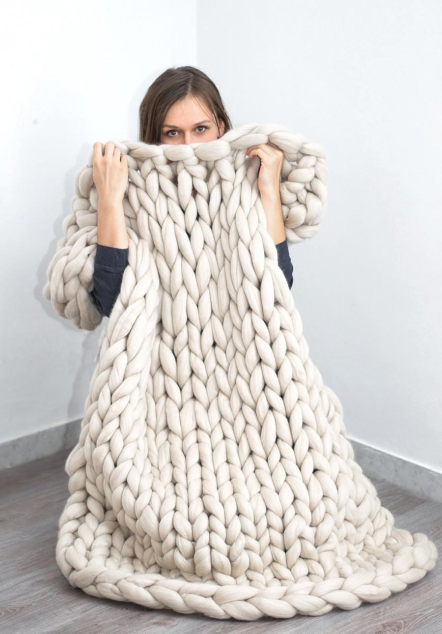 chunky blanket knitted blanket merino wool blanket bulky blanket extreme knitting extra. Black Bedroom Furniture Sets. Home Design Ideas