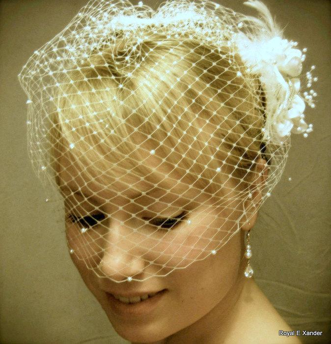 Mariage - Wedding Birdcage Veil with Pearls, Small Bridal Veil, Russian Veiling, Bird Cage Veil